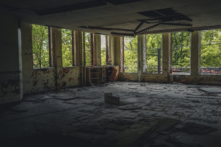 Detroit, Michigan, May 18, 2018: Interior view of abandoned and damaged George Ferris School in Detroit. Like other schools in Highland Park, Ferris went into a decline in enrollment numbers that it never recovered from, and closed in the late 90s. There  Stock Photo - 132492510