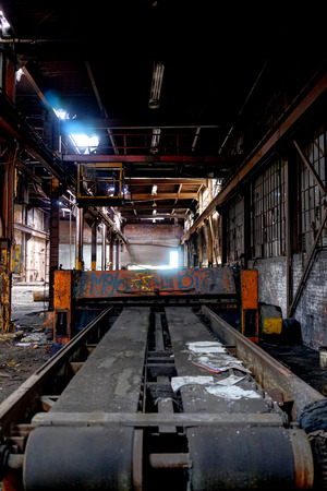 Detroit, Michigan, United States - October 18 2018: View of the abandoned Gray Iron Factory in Detroit. Detroit Gray Iron Foundry was one of several foundry companies located along the water front, producing tools, machinery, jig and fixture castings. Stock Photo - 132492514