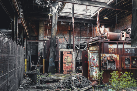 Detroit, Michigan, United States - October 18 2018: View of the abandoned Gray Iron Factory in Detroit. Detroit Gray Iron Foundry was one of several foundry companies located along the water front, producing tools, machinery, jig and fixture castings.