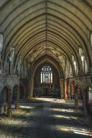 Detroit, Michigan, May 18, 2018: Interior view of abandoned and damaged Church St. Agnes in Detroit. Stock Photo - 132492518