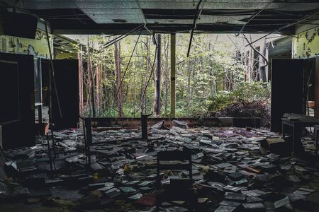 Detroit, Michigan, May 18, 2018: Interior view of abandoned and damaged George Ferris School in Detroit. Like other schools in Highland Park, Ferris went into a decline in enrollment numbers that it never recovered from, and closed in the late 90s. There