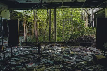 Detroit, Michigan, May 18, 2018: Interior view of abandoned and damaged George Ferris School in Detroit. Like other schools in Highland Park, Ferris went into a decline in enrollment numbers that it never recovered from, and closed in the late 90s. There  Stock Photo - 132492487