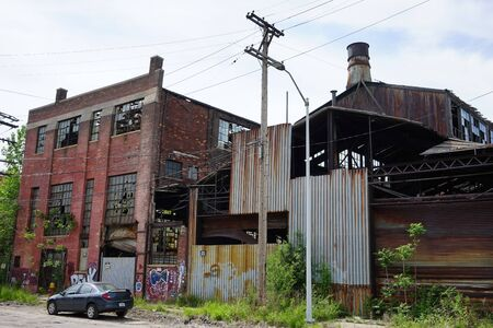 Detroit, Michigan, United States - October 18 2018: View of the abandoned Gray Iron Factory in Detroit. Detroit Gray Iron Foundry was one of several foundry companies located along the water front, producing tools, machinery, jig and fixture castings. Stock Photo - 132492491