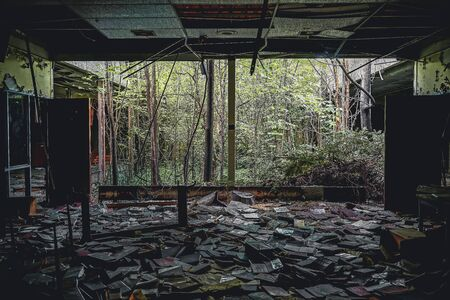 Detroit, Michigan, May 18, 2018: Interior view of abandoned and damaged George Ferris School in Detroit. Like other schools in Highland Park, Ferris went into a decline in enrollment numbers that it never recovered from, and closed in the late 90s. There  Stock Photo - 132492498