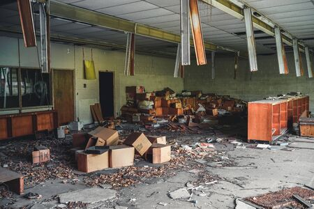 Detroit, Michigan, May 18, 2018: Interior view of abandoned and damaged George Ferris School in Detroit. Like other schools in Highland Park, Ferris went into a decline in enrollment numbers that it never recovered from, and closed in the late 90s. There  Stock Photo - 132492499