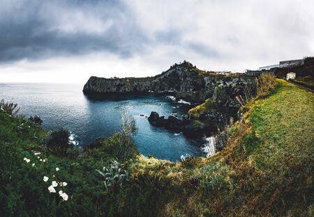 North coast Landscape over Capelas town on Sao Miguel island, Azores archipelago, Portugal. Miradouro do Porto das Capelas. Imagens - 127424716