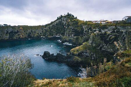 North coast Landscape over Capelas town on Sao Miguel island, Azores archipelago, Portugal. Miradouro do Porto das Capelas.