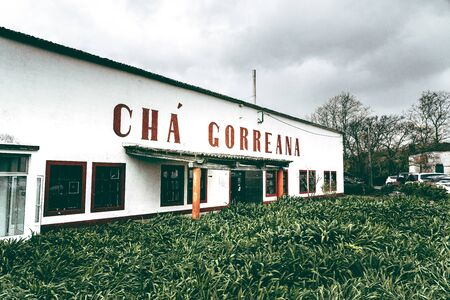 SAO MIGUEL ISLAND, AZORES, PORTUGAL - July 15, 2019: Facade of building of Gorreana tea factory Cha Gorreana . The oldest, and currently only, tea plantation in European region