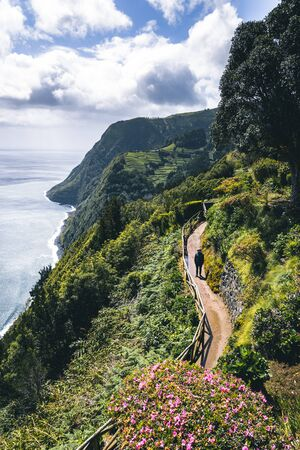 Northeast of the island of Sao Miguel in the Azores. Viewpoint of Ponta do Sossego. Amazingly point of interest in a major holiday destination of Portugal. Imagens - 128912297