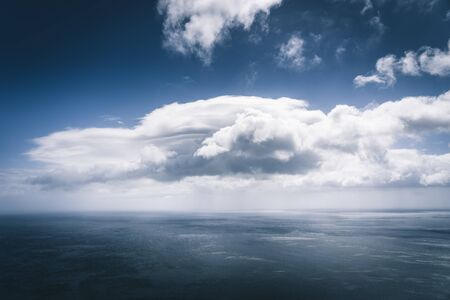 Wuiet sea views with white cloud and storm approaching over Atlantic Ocean. Blue sky relaxing concept,beautiful tropical background for travel landscape Imagens
