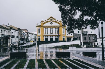 RIBEIRA GRANDE, AZORES, PORTUGAL - JULY 29, 2019: Municipal garden and performing arts theater in the center of Ribeira Grande town, located on Sao Miguel island of Azores, Portugal Editorial