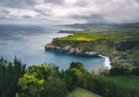 Epic scenic outlook of Miradouro de Santa Iria - north coast of Sao Miguel, largest island of Azores archipelago.