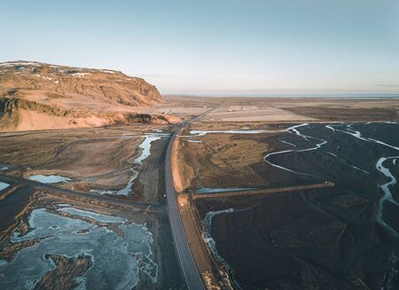 Icelandic aerial photography captured by drone.Beautiful landscape in the Myvatn lake in an area of active volcanism in the north of Iceland, near Krafla volcano.