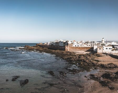 Essaouira Ramparts aerial panoramic view in Essaouira, Morocco. Essaouira is a city in the western Moroccan region on the Atlantic coast. 版權商用圖片