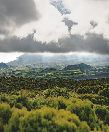 Lanscape near EN3 longitudinal road northeast of Mount Pico and the silhouette of the Mount Pico along , Pico island, Azores, Portugal. 版權商用圖片