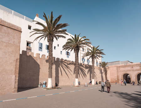 Essaouira, Morocco, December 30 2019: Medina entrance tower and old city walls in costal town of Essaouira, Morocco. Photo taken in Morocco. 新聞圖片