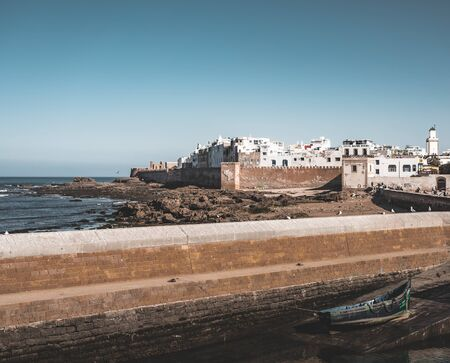 Essaouira Ramparts aerial panoramic view in Essaouira, Morocco. Essaouira is a city in the western Moroccan region on the Atlantic coast. Photo taken in Morocco. 版權商用圖片