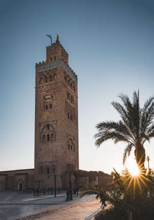 Marrakech, Morocco - December 23, 2019: Koutoubia mosque square during sunset. Photo taken in Morocco.