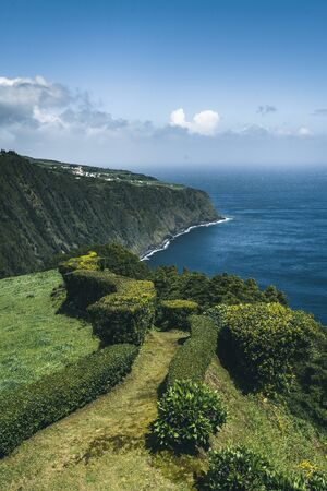 Northeast of the island of Sao Miguel in the Azores. Viewpoint of Ponta do Sossego. Amazingly point of interest in a major holiday destination of Portugal. Photo taken in Azores, Portugal. 版權商用圖片