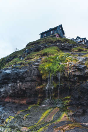 Village of Mikladalur located on the island of Kalsoy, Faroe Islands, Denmark Banco de Imagens