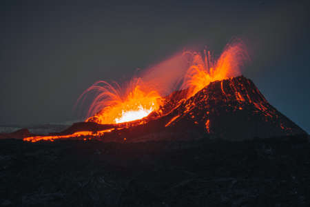 Iceland Volcanic eruption 2021. The volcano Fagradalsfjall is located in the valley Geldingadalir close to Grindavik and Reykjavik. Hot lava and magma coming out of the crater.