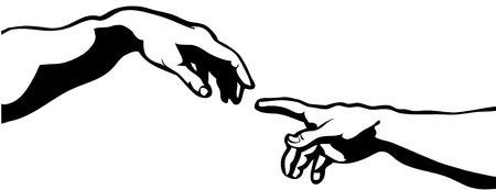 Conception vectorielle Touch of God à la main