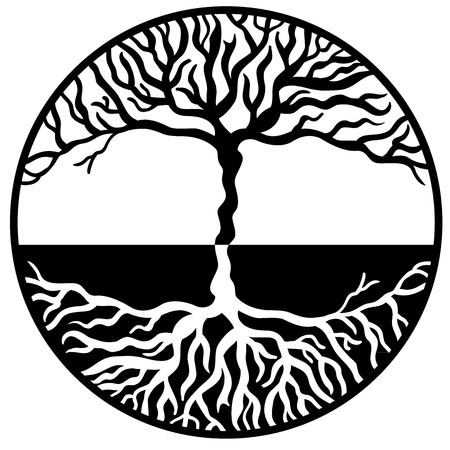 Handmade Tree of Life symbol vector Vettoriali