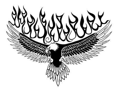 Handmade burning Eagle Vector Design