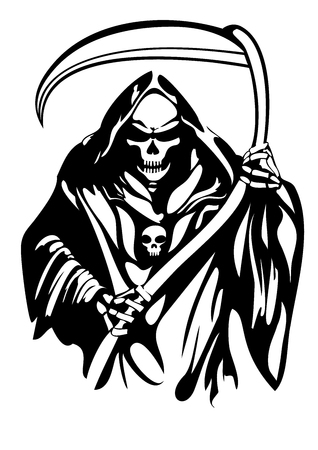 Handamde Grim Reaper Vector Design Stock Illustratie