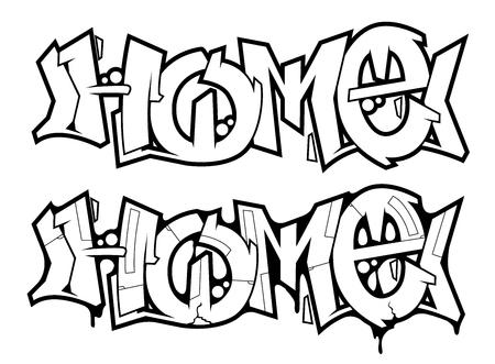 Met de hand gemaakt straatgraffiti vectorontwerp Stock Illustratie