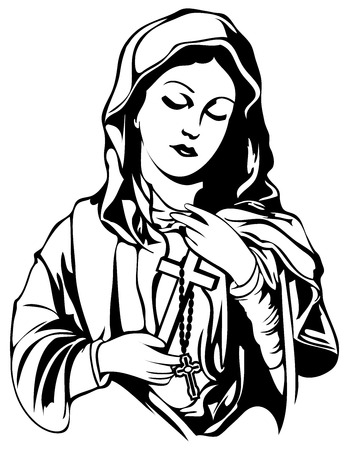 Handmade Mary Magdalene Vector tattoo design Illustration