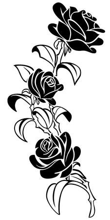 Handmade Rose Design Vector Tattoo Illustration