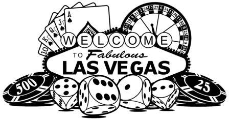 Bienvenue dans l'élément de conception vectorielle de Las Vegas. Illustration vectorielle