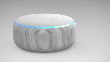 Amazon Echo Dot 3rd generation on light backround