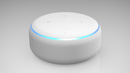 Amazon Echo Dot 3rd generation on light backround Editorial