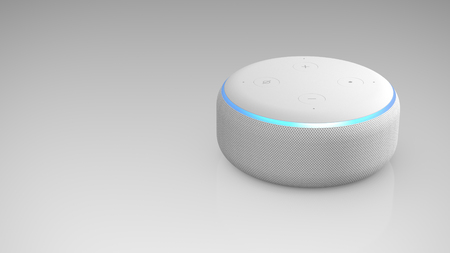 Amazon Echo Dot 3rd generation on light backround Editoriali