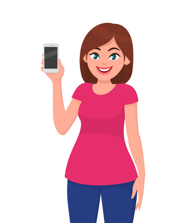 Cute young woman showing smartphone. Vector illustration in cartoon style.