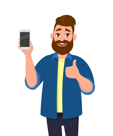 Happy young man showing smartphone and showing thumbs up or like sign. Mobile phone technology concept. Vector illustration in cartoon style.