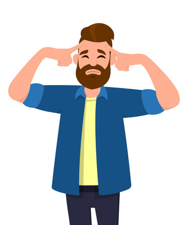 Young man touching his head with fingers in both hands looks tired with a headache keeping eyes closed. Man feeling bad suffering. Emotion and body language concept in cartoon style vector .