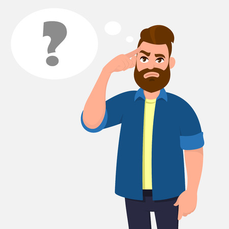 Man touching his temples and questioning. Man holding finger on head and in the thought bubble question mark appearing, remember important information. Thinking and question concept illustration.