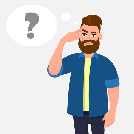 Mann, der seine Schläfen berührt und befragt. Mann, der den Finger auf den Kopf hält und im erscheinenden Fragezeichen der Gedankenblase sich an wichtige Informationen erinnert. Denken und Fragekonzeptillustration.