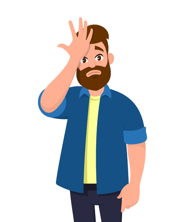 Young man surprised with hand on head for mistake, remember error. Forgot, bad memory. Emotion and body language concept in cartoon style vector illustration.