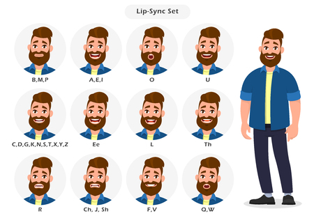 Set of lip sync collection for animation of the talking character. Cartoon character mouth and lips sync for sound pronunciation. Learning English alphabet. Concept illustration in cartoon style.