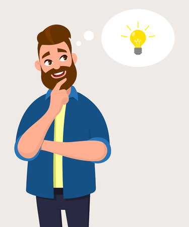 Man thinking for bulb icon or symbol with smile.Idea, innovation or initiation concept in thought bubble. Vector illustration in cartoon style.
