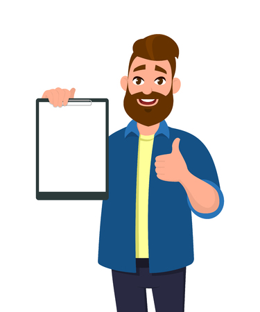 Man holding/showing a blank clipboard and showing thumbs up or like sign. Vector illustration in cartoon style.