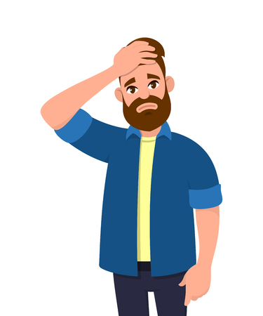 Unhappy young man squeezing head with hands. Emotions and body language concept. Stress, tension and migraine concept in vector illustration style.