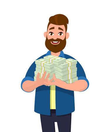Giovane che tiene in mano mazzi di contanti, denaro o banconote. Illustrazione di concetto di affari e finanza di successo in stile cartone animato.