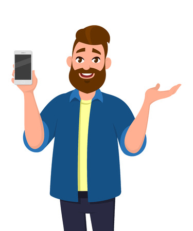Happy young man showing smartphone and showing hand gesture to copy space for presenting something . Mobile phone technology concept. Vector illustration in cartoon style. Ilustración de vector
