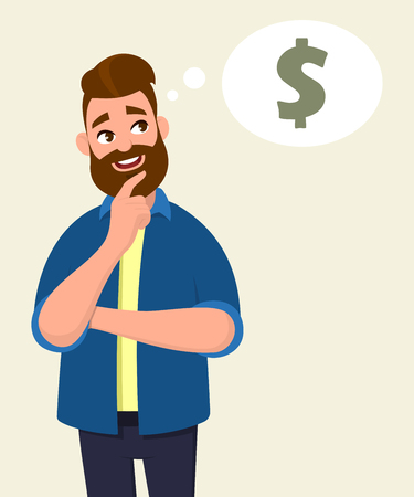Man thinking for dollar icon or symbol with smile. Money concept in thought bubble. Vector illustration in cartoon style. Ilustração