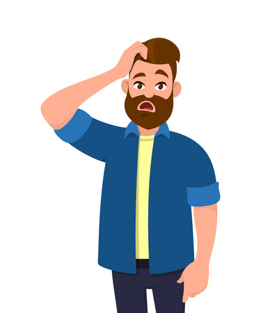 Confused young man scratching his head. Emotions and body language concept. Vector illustration in cartoon style.
